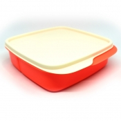 Tupperware Square Divided Lunch Box - Neon Orange