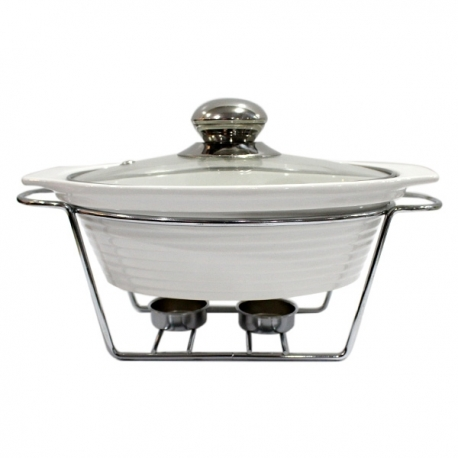 """Masflex 11.5"""" Oval Food Warmer with Stand"""