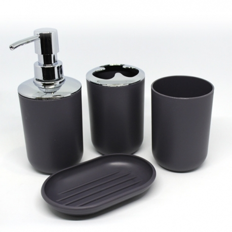 Cascade Bathroom Organizer Set 4pc Black