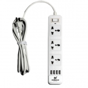 Powerhouse Voyager Powerstrip with 4 USB Outputs - White