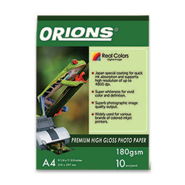 Orions Photo Paper A4 Premium High Gloss 180gsm