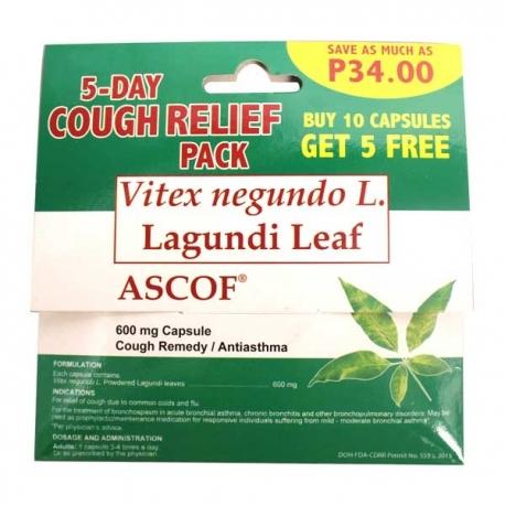Buy ASCOF Lagundi 600mg 10+5 Capsules online at Shopcentral Philippines.