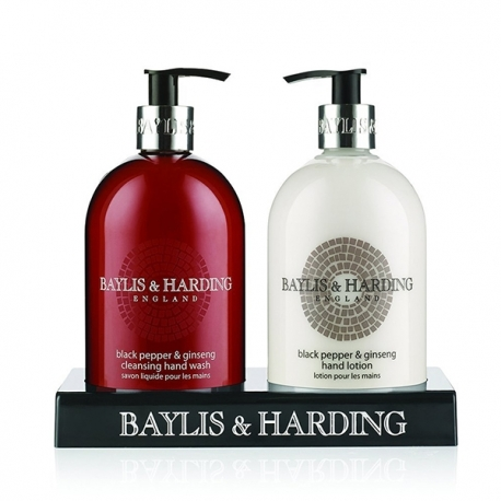 Buy Baylis & Harding Mens Black Pepper & Ginseng 2 Bottle Set in a Black Acrylic Rack online at Shopcentral Philippines.