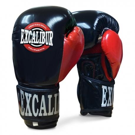 Excalibur PU Premium Boxing Gloves Pindot Black/Red/Silver