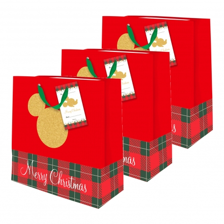 Buy Sterling Mickey Mouse Red Plaid Christmas Totebag w/ Gift Tag Medium 3's online at Shopcentral Philippines.